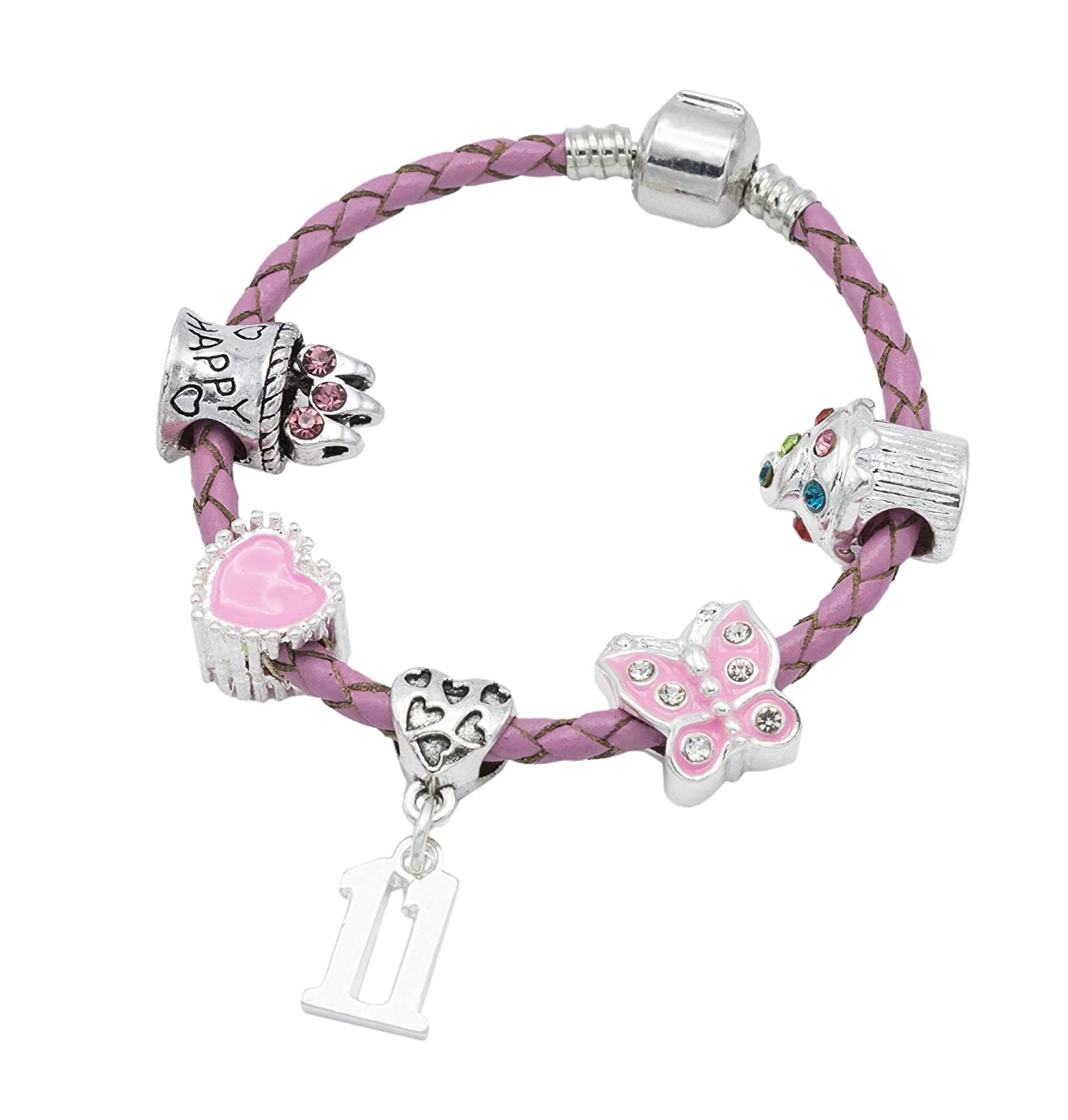 Children's Pink Leather Happy 11th Birthday Charm Bracelet With Lovely Jewellery Hut Gift Pouch - Girl's & Children's Birthday Gift Jewellery BRKID11