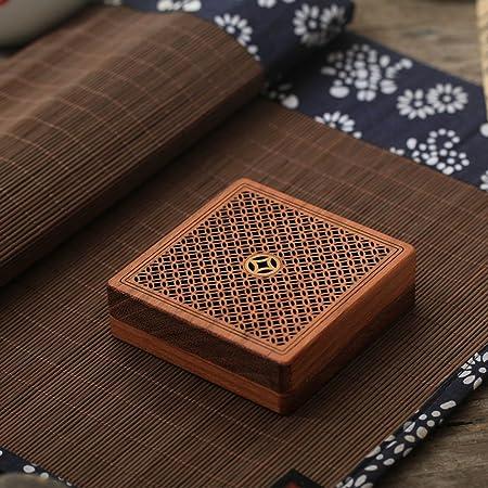 Caja del quemador incienso retro,Incensario madera creativa para casa uso o yoga sala decoración incienso ceniza catcher bandeja bowl-A L3.3*W3.3*H1inch(8.5*8.5*2.5cm): Amazon.es: Hogar