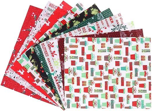 Healifty 10 Piezas de Tela de Acolchado de algodón de Navidad Retazos de Tela de Retazos de Tela para Manualidades de Costura decoración de Navidad de Vacaciones (patrón Aleatorio): Amazon.es: Hogar