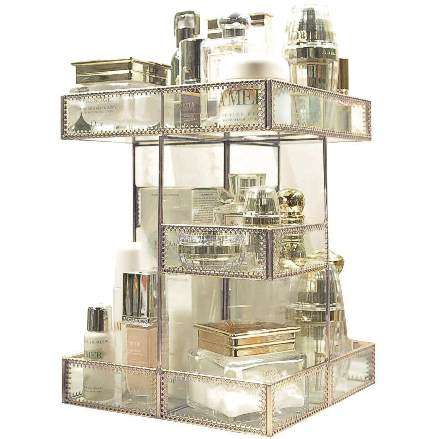360 Degree Rotation Glass Makeup Organizer Antique Countertop Vanity Cosmetic Storage Box Mirror Glass Beauty Display, Brass Spin Large Capacity Holder for Brushes Lipsticks Skincare Toner (Brass)