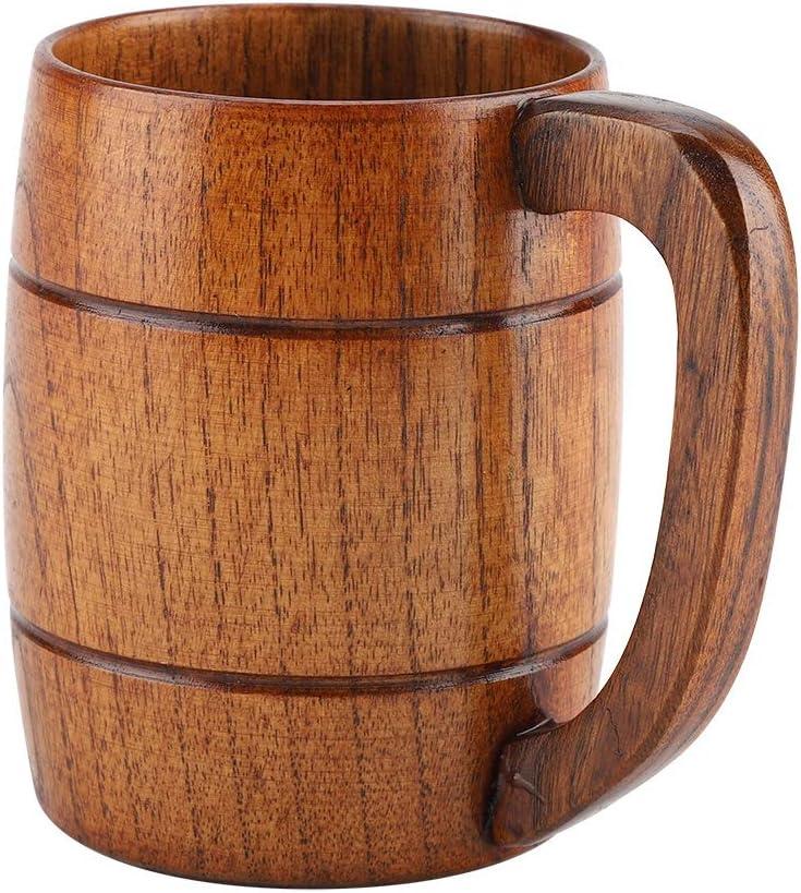 TOPINCN Natural de Madera Cerveza Taza Retro de Gran Capacidad de Agua de té de Madera rústica Que Bebe la Taza de café con asa Drinkware para Home Restaurant Regalo (Cerveza Taza)