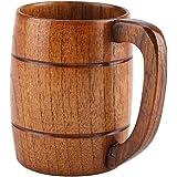 Taza de cerveza de madera, taza de cerveza de madera natural Taza de bebida de madera clásica retra grande del agua del té con la taza de cerveza del regalo de boda de la jarra de madera de la manija