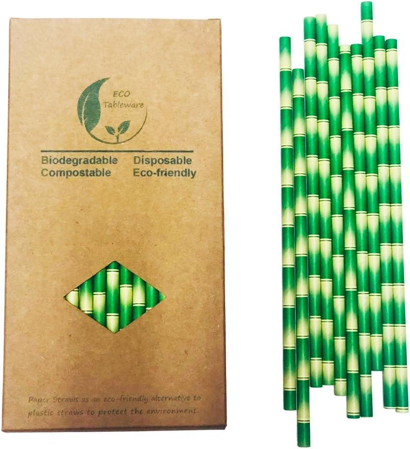 Pajitas biodegradables de papel, color y diseño de bambú ...