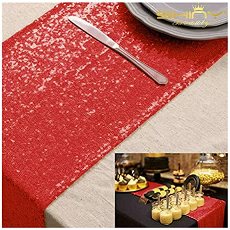 ShinyBeauty Sparkly Red Sequin Table Runner For Wedding/Events Decoration 30*180cm (Can
