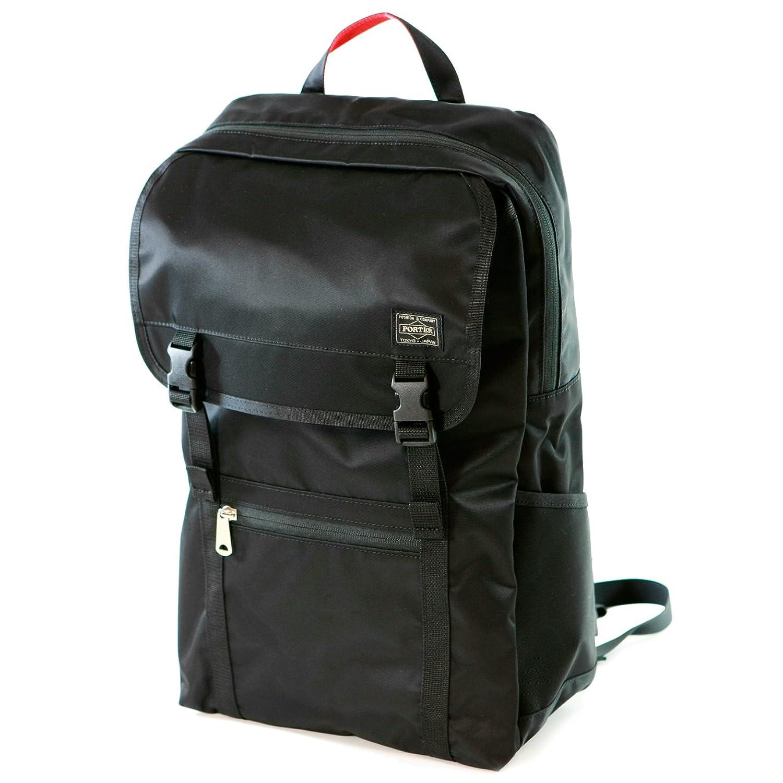 ポーター エルファイン 【PORTER L-fine】 バックパック PORTER×ILS共同企画 デイパック L サイズ Daypack L Size 【LYD383-18123】 ブラック 裏地=レッド Black Backing=Red B079BGY93D