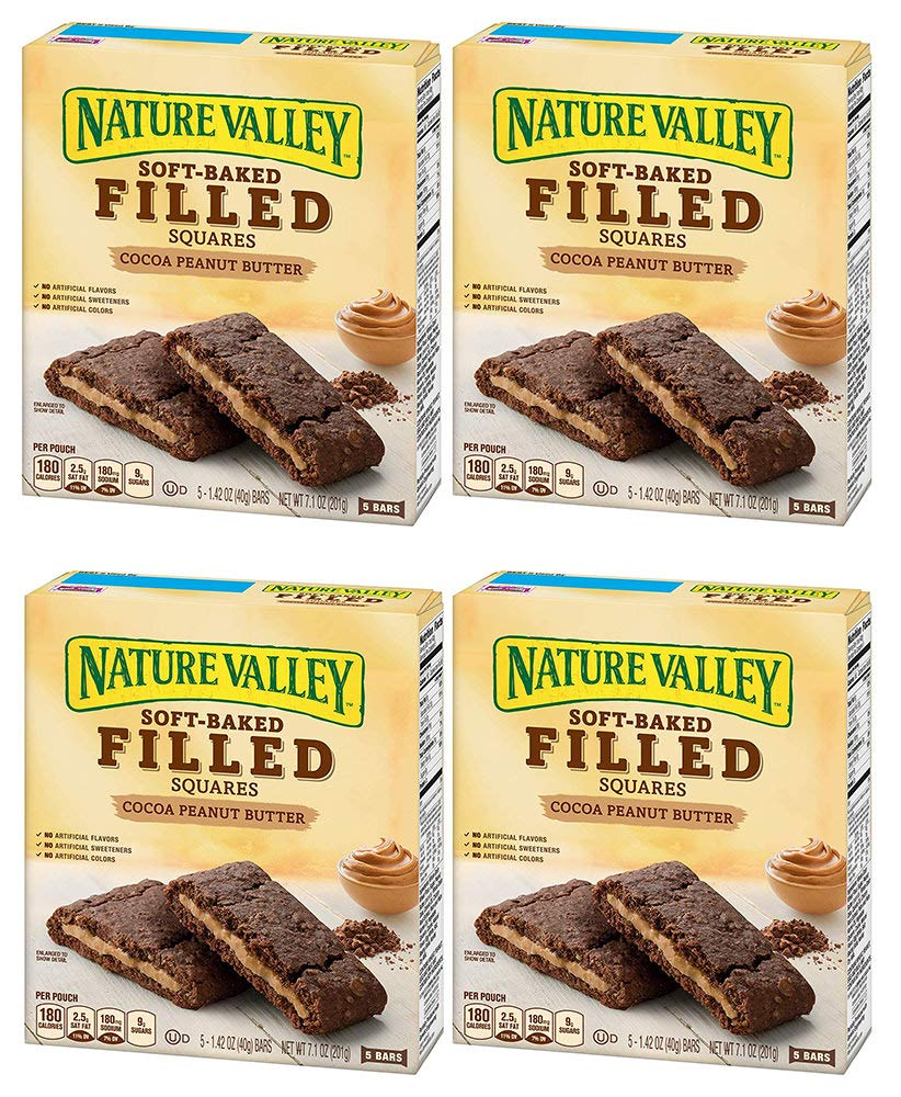 Nature Valley Soft Baked Filled Squares Cocoa Peanut Butter, 5 Bars (4 Boxes)