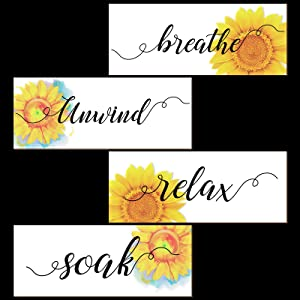 4 Pieces Sunflowers Bathroom Decor Wooden Sign Front Porch Decor 10 x 4 inches Relax Soak Unwind Breathe Sunflowers Front Door Decoration Home Wall Plaque House Wood Sign Home Porch Hanging Decor