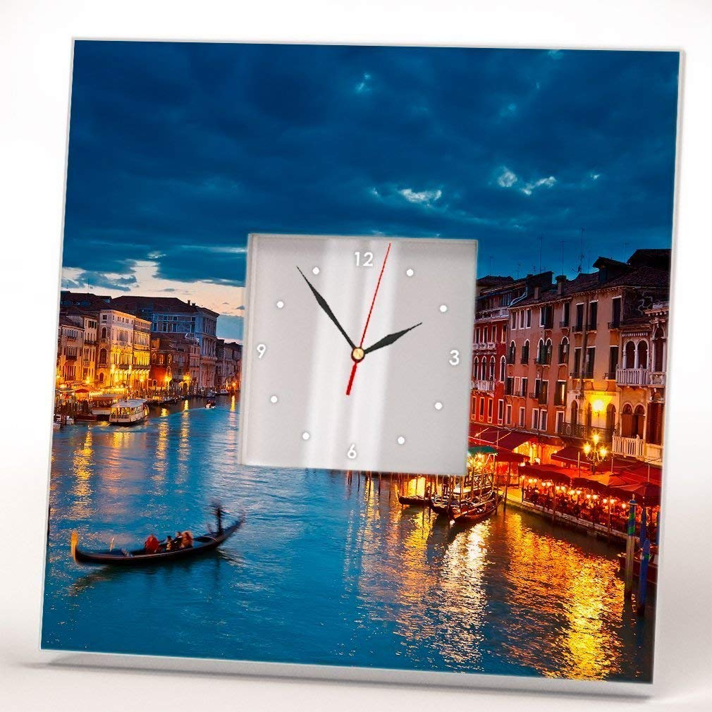 Venice Grand Canal Wall Clock Framed Mirror Printed Decor Italy Fan Photo Art Home Room Design Gift