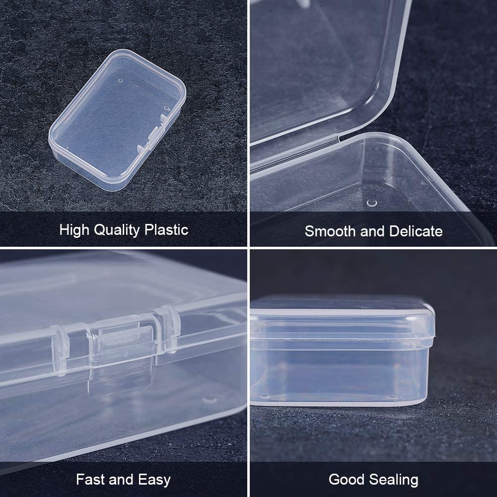 BENECREAT 18 Pack 2.5x1.73x0.78 Rectangle Clear Plastic Bead Storage Containers Box Case with lid for Earplugs,Pills,Tiny Bead,Jewelry Findings