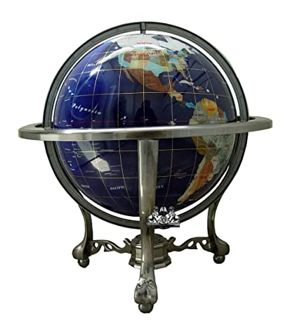 Amazon unique art 21 inch tall blue lapis ocean table top unique art 21 inch tall blue lapis ocean table top gemstone world globe with silver gumiabroncs