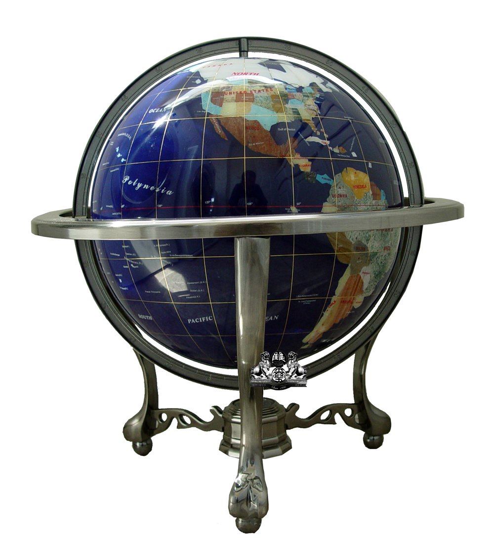 Unique Art 21-Inch Tall Blue Lapis Ocean Table Top Gemstone World Globe with Silver Tripod and Separated State Stones