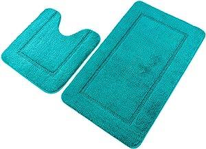 "Pauwer Turquoise Bath Rug Set 2 Piece 21"" x 34""+20""x 20"" Bathroom Contour Rug Combo Non Slip Microfiber Bath Mat and U-Shaped Toilet Rug"