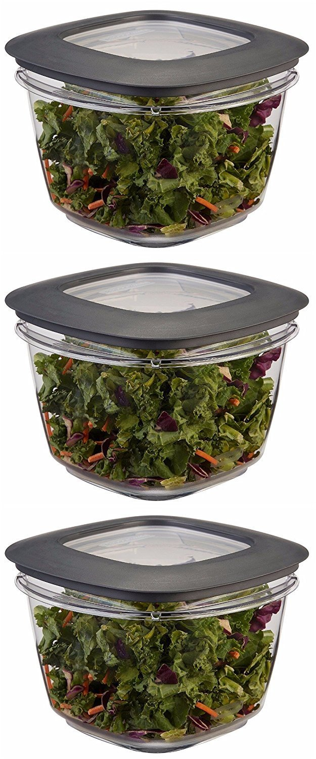 Rubbermaid Premier Food Storage Container, 7 Cup, Grey (3 Pack)