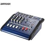ammoon Consola de Mezclas de Audio 4 Channeles Mic Digital Línea Amplificador Power Mixer con 48V de Alimentación Phantom 16 Incorporado Efectos de Sonido para la Grabación de DJ Etapa Karaoke