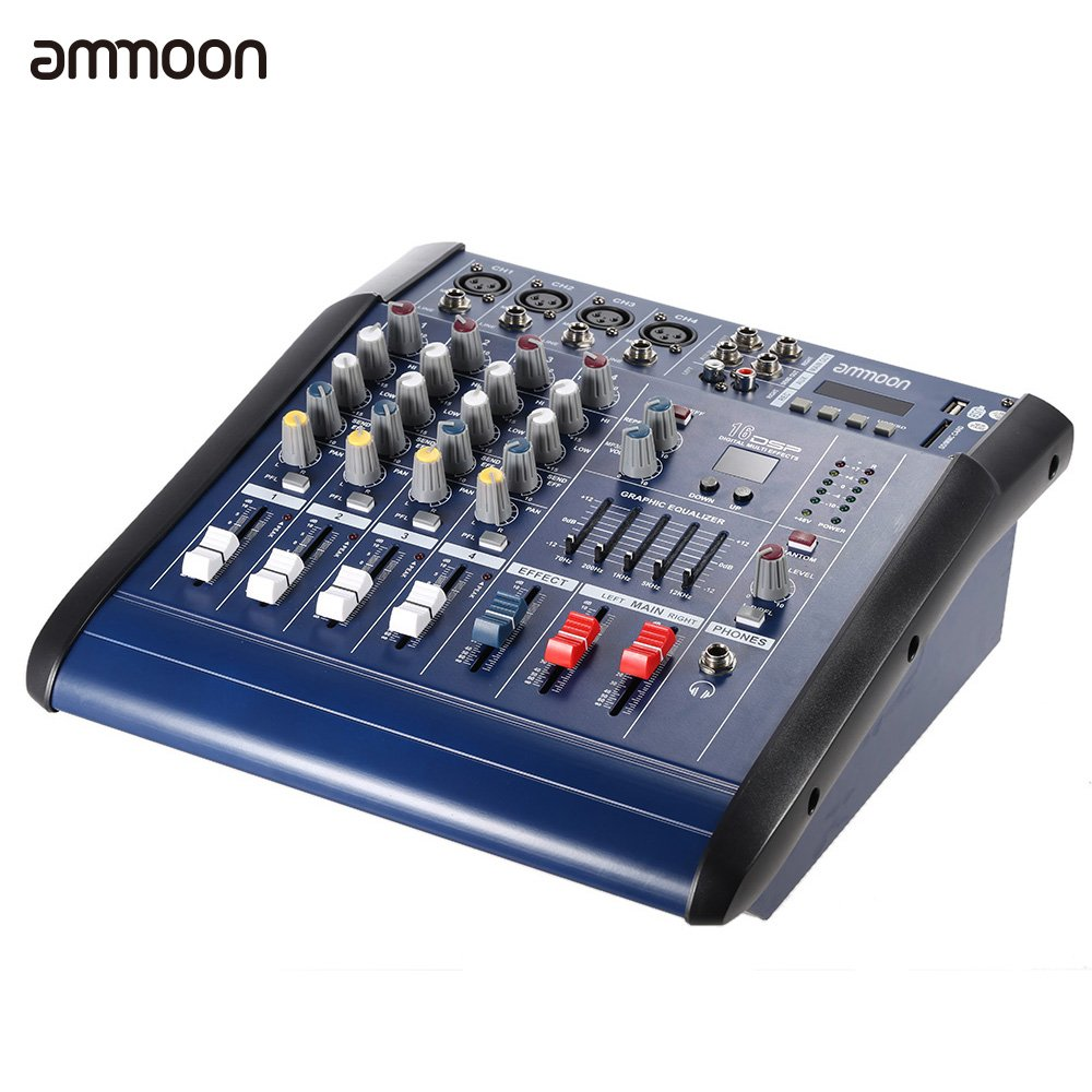 Ammoon Pmx402d Usb 4 Channel Digtal Mic Line Audio Schematic Wiring Diagram 3 Mixer Circuit Mixing Console With 48v Phantom Power 16 Built In Sound Effects For Recording Dj Stage