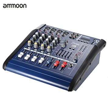 ammoon Consola de Mezclas de Audio 4 Channeles Mic Digital Línea Amplificador Power Mixer con 48V