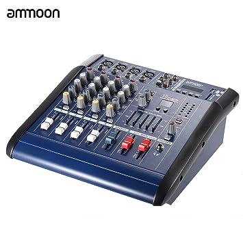 ammoon Consola de Mezclas de Audio 4 Channeles Mic Digital Línea Amplificador Power Mixer con 48V