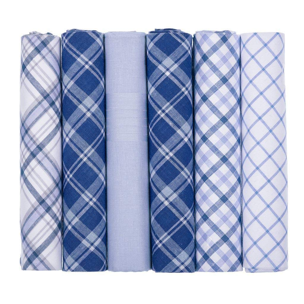 Mens Handkerchiefs 100% Cotton Boxed Hankies Hankys Mens Quality Gift 6/7 Pack Blue Checked)