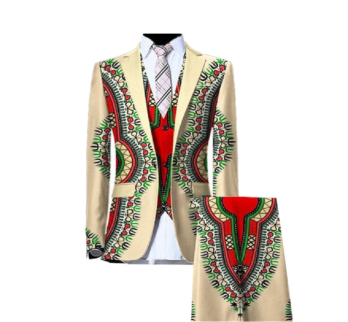Vska Mens Floral Print Dashiki 3Pcs Single Breasted Business Waistcoat+Blazer+Suit Pant Outfit Pattern7 XL