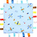 Blue Baby Tag, Taggy Blanket - Blue with Planes Tag, Taggy Blanket - Plain Blue Textured Underside