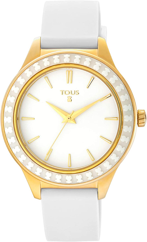 TOUS Reloj Straight Ceramic de acero IP dorado y bisel de cerámica con correa de silicona blanca Ref:900350375