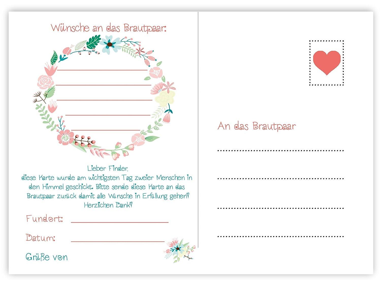 Ballonflugkarten Für Hochzeitfrisch Verheiratet 50 Stück Extra Leichte Flugkarten Für Einen Langen Flug Wasserfeste Ballonkarten Als