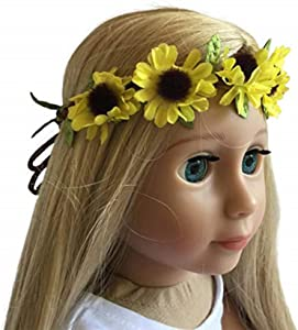 The New York Doll Collection 18 inch/46 cm Doll Headband – Floral Yellow Sunflower Wreath - Hair Accessories for 18 inch/ 46 cm Dolls