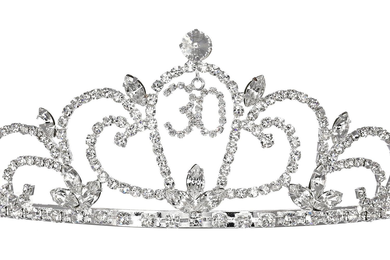 826547cf7fa1 Birthday Party Rhinestone Crystal Tiara Crown 30th Thirty Thirtieth