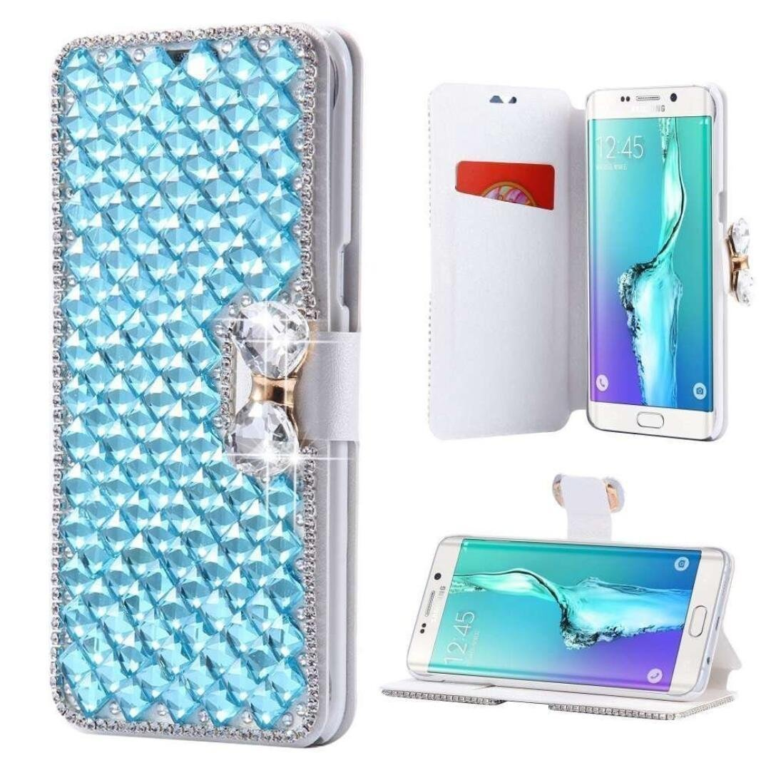 Samsung Galaxy J7 Wallet Case,Inspirationc and Made Luxury 3D Bling Crystal Rhinestone Leather Purse Flip Card Pouch Stand Cover Case for Samsung Galaxy J7 2016--Light Blue