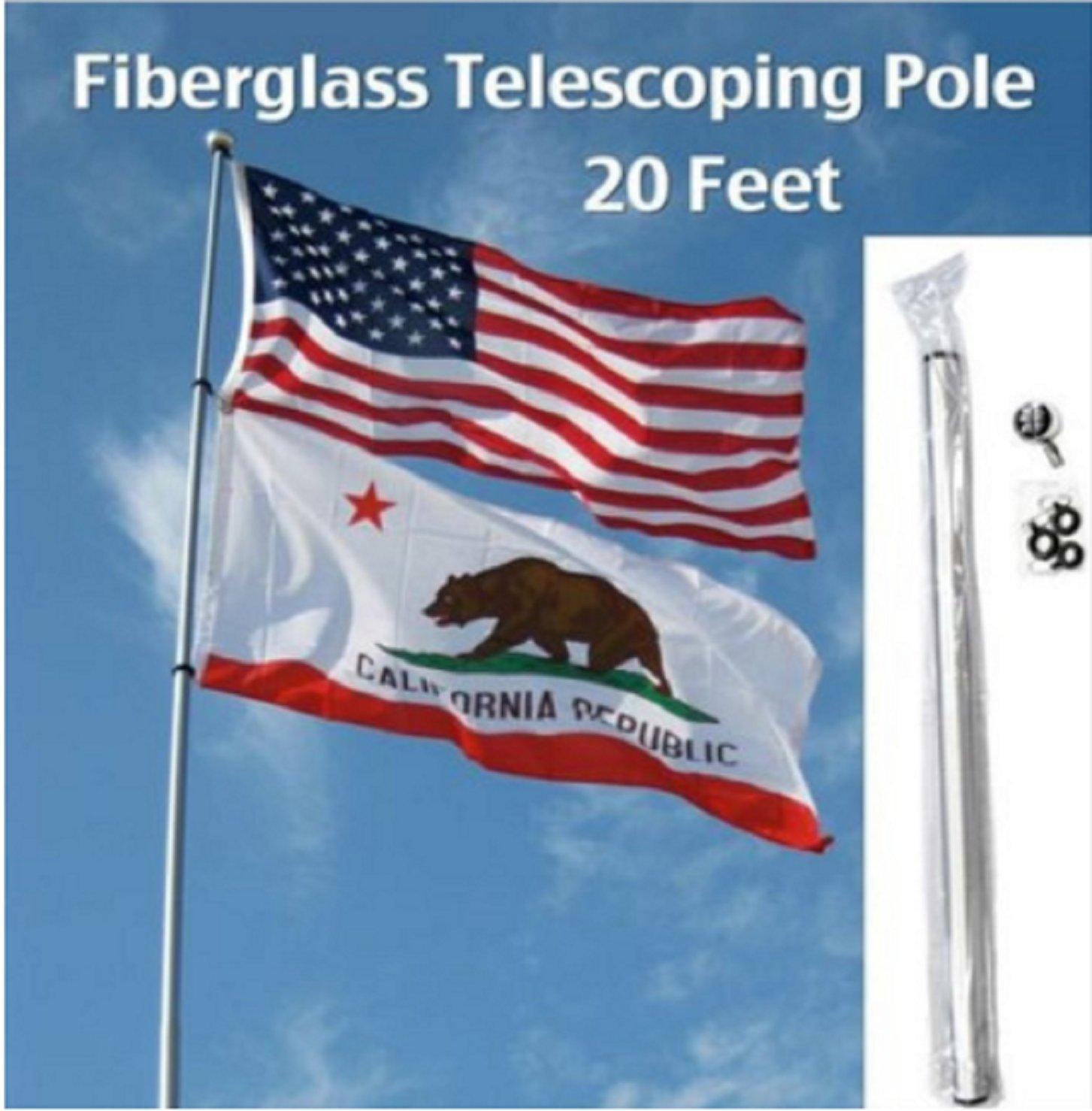 USA Premium Store 20' FT FIBERGLASS TELESCOPING FLAG POLE camp rv desert antenna dune trail mount
