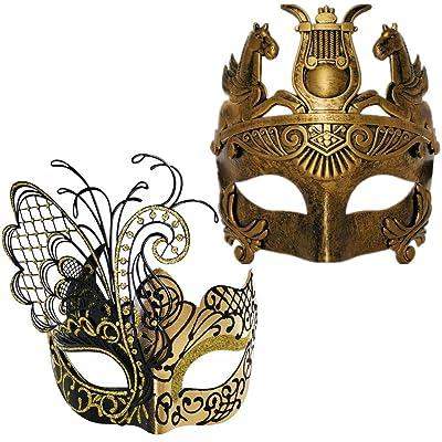 Gold Men Mask and Gold Black Women Mask Couple Venetian Masquerade Mask: Clothing