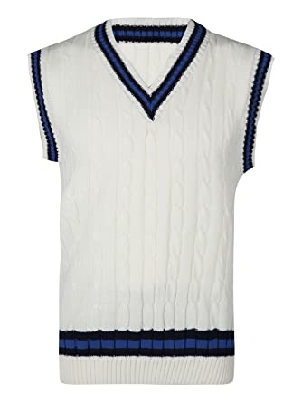 1956163d92709d Rimi Hanger Mens Classic Cricket Cable Knitted Tank Top Boys Sleeveless V  Neck Ribbed Top Cream