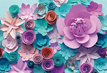AOFOTO 10x7ft Handmade Paper Flower Backdrop Birthday Party Decoration Photography Background Baby Shower Bride Girl Woman Artistic Portrait Activity ...