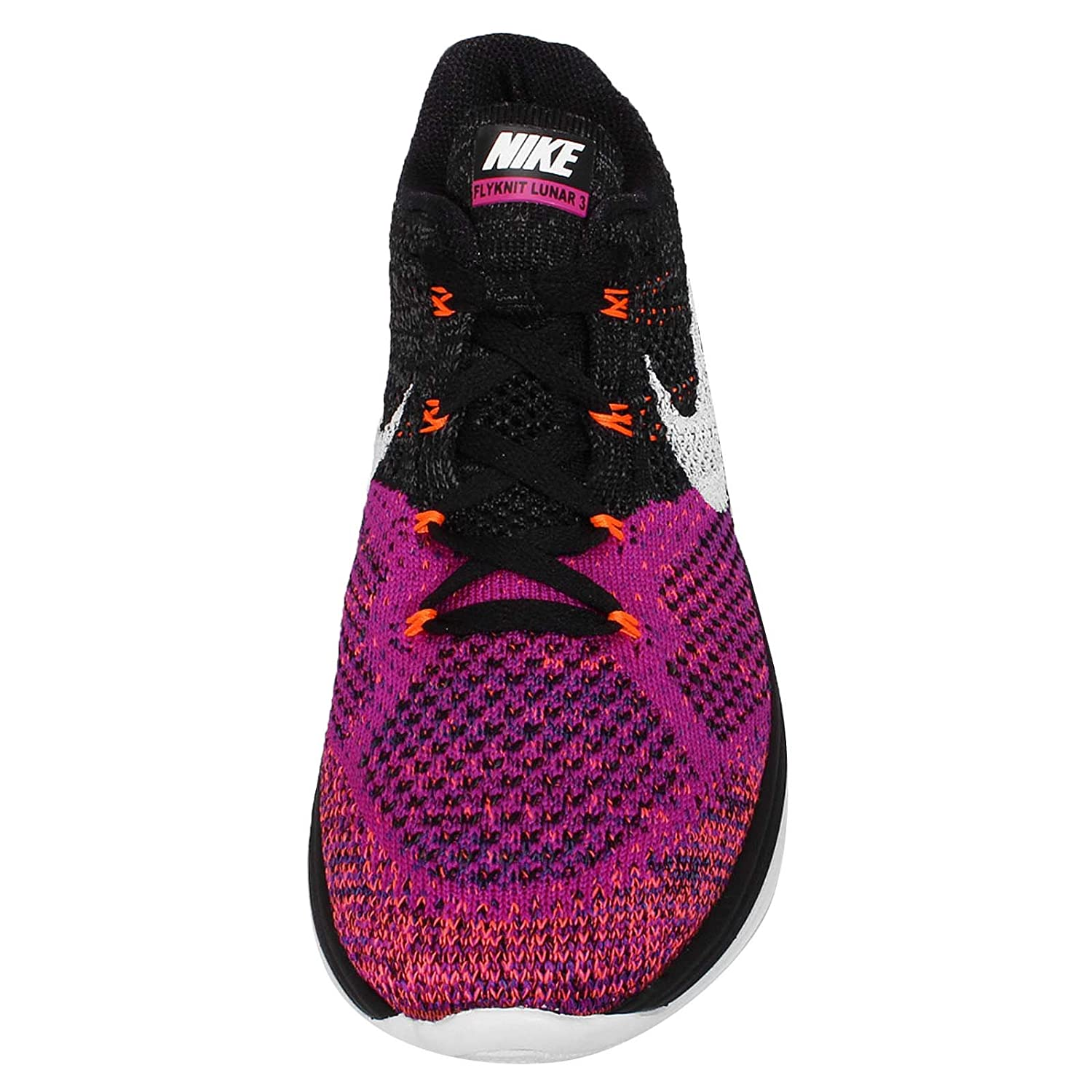 NIKE Women's Flyknit Lunar3 Running/Training Shoes B00X9XJZL0 8 B(M) US|Black/White-fuchsia Flash-hot Lava