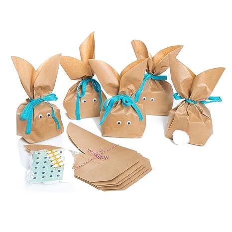 16bba0011 10 bolsas de papel marrón con divertidos conejos de Pascua + cinta de  algodón en color ...