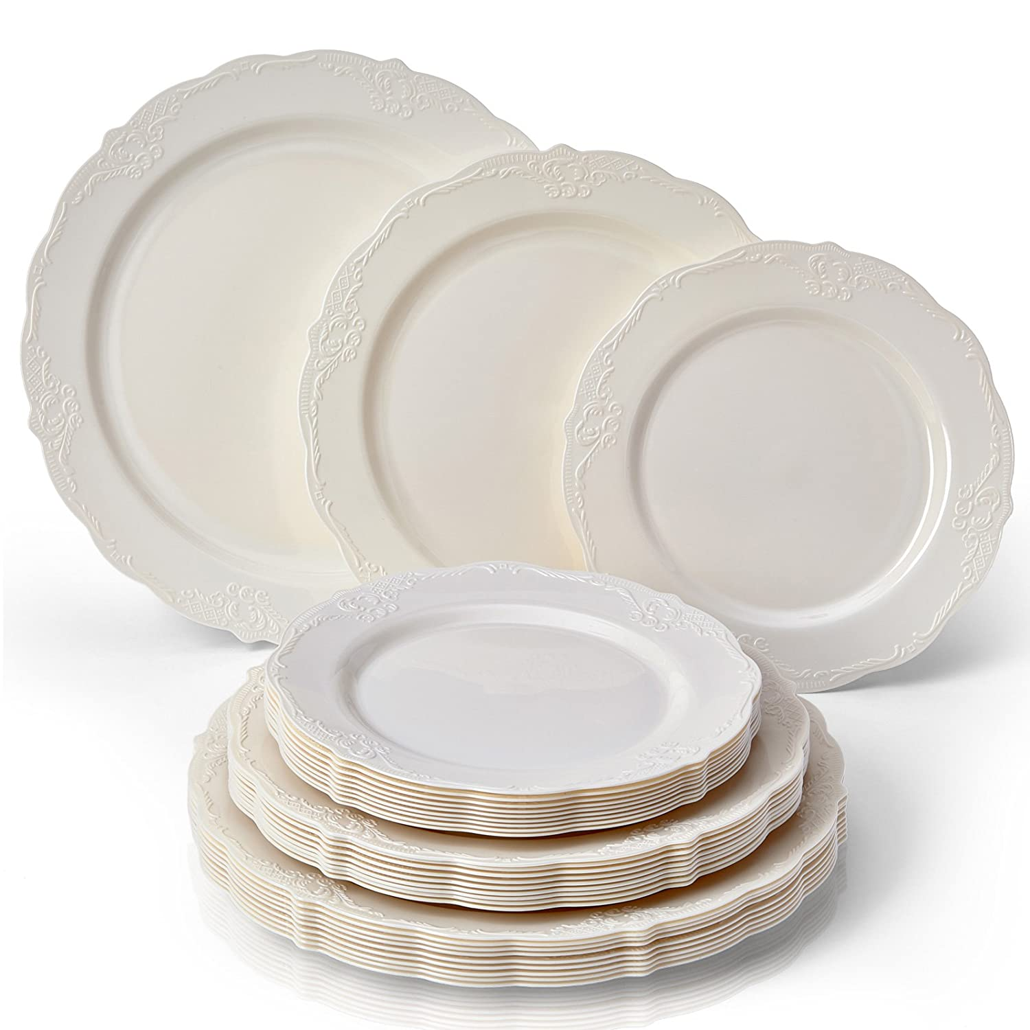 PARTY DISPOSABLE 30 PC DINNERWARE SET | 10 Dinner Plates | 10 Salad Plates | 10 Dessert Plates | Heavyweight Plastic Dishes | Fine China Look | Upscale Wedding and Dining (Vintage Collection - Cream)