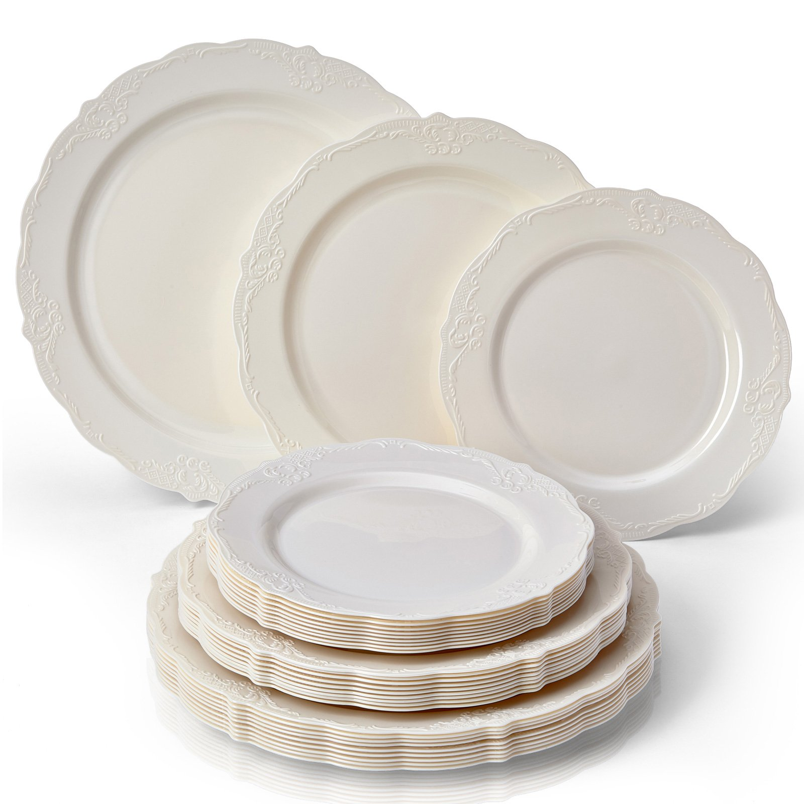 VINTAGE COLLECTION 120 PC DINNERWARE SET | 40 Dinner Plates | 40 Salad Plates | 40 Dessert Plates | Durable Plastic Dishes | Elegant Fine China Look | for Upscale Wedding and Dining (Cream) by Silver Spoons