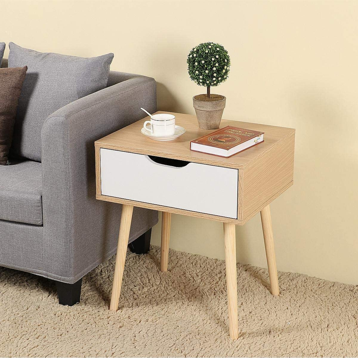 Topeakmart Sofa Side End Table Nightstand Bedside Table with Storage Drawer Solid Wood Legs
