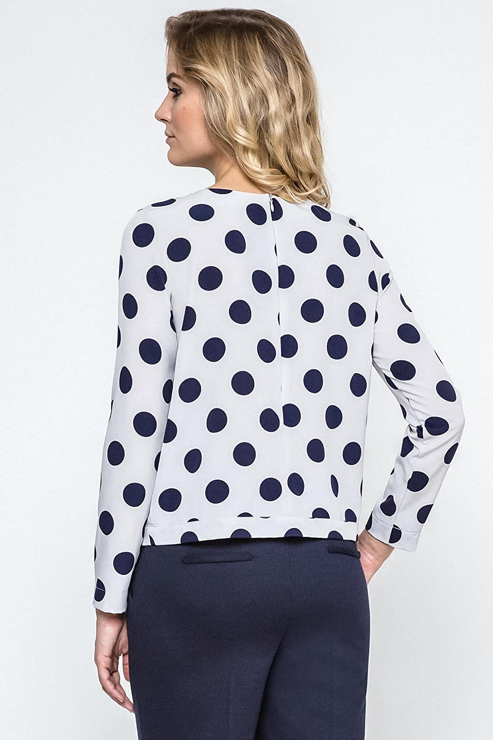 Ennywear 240121 womens shirt polka dot long sleeved zip - made in EU at Amazon Womens Clothing store: