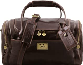 Tuscany Leather TL Voyager Travel leather bag with side pockets - Small  size Dark Brown 59448d64d1cbd