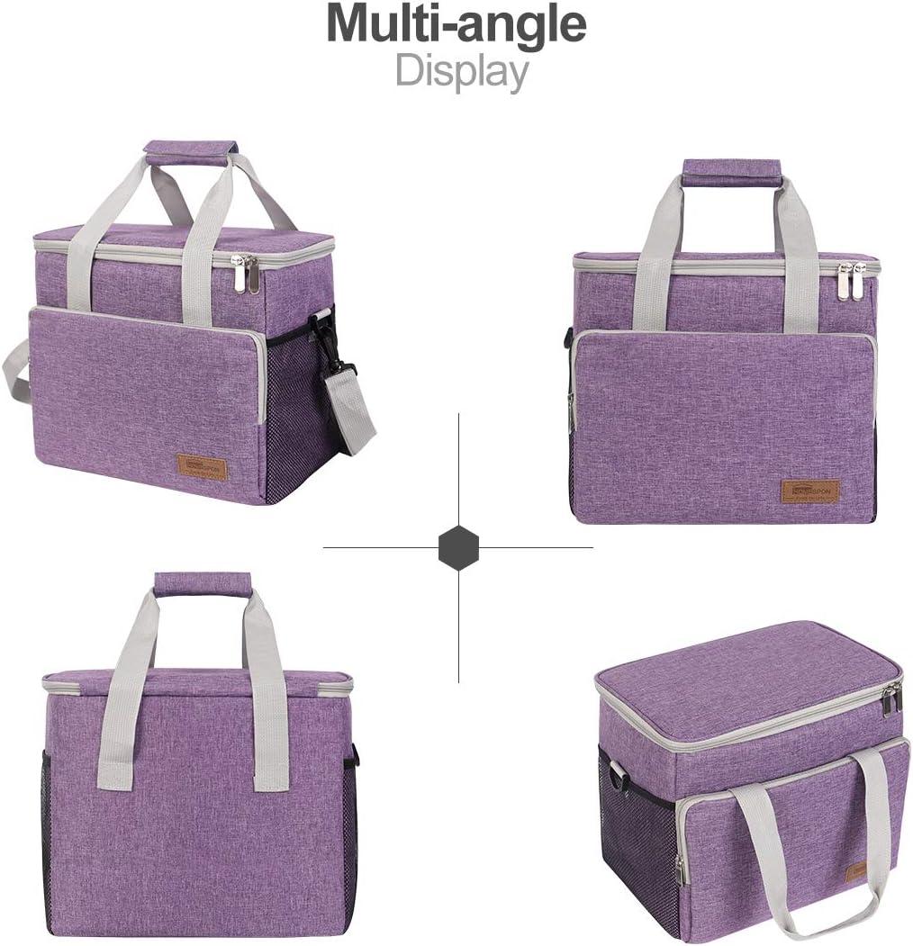buringer Sac Isotherme Lunch Bag Sac de Courses Sac-Glaci/ère Cooler Bag Sac de Repas pour D/éjeuner//Travail//Ecole//Plage//Pique-Nique Gris