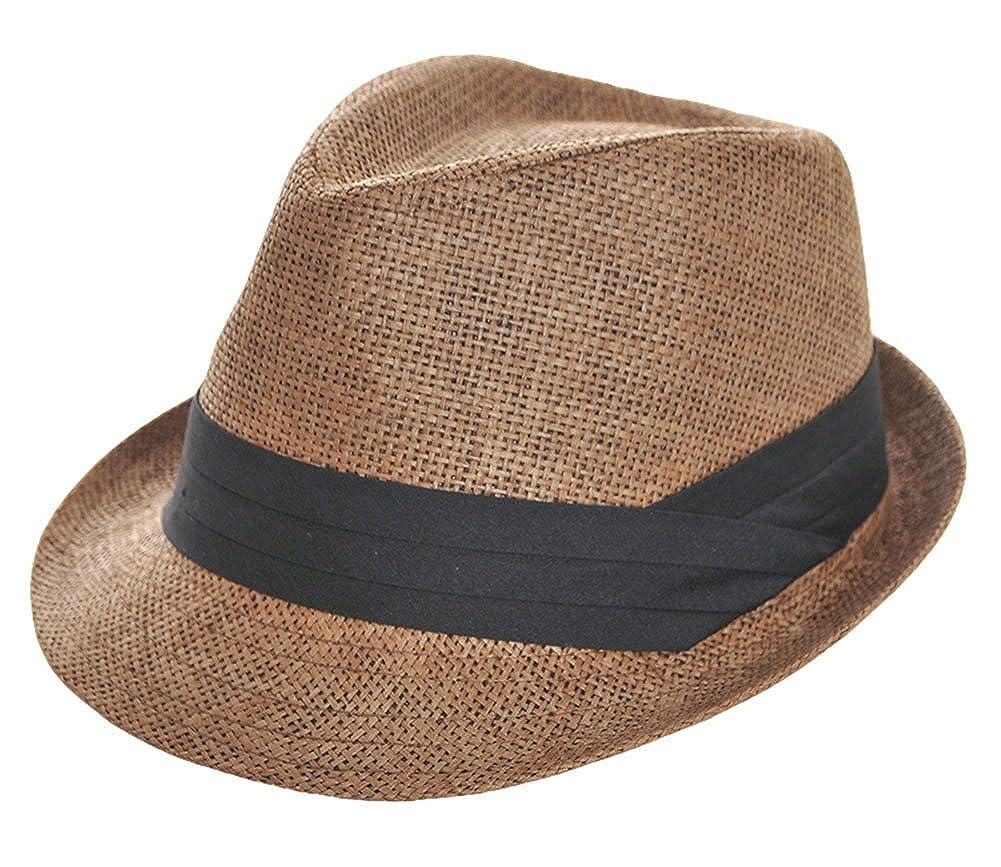 Roffatide Men Women Straw Trilby Fedora Hat Summer Outdoor Sun Visor Hat LT2068-4