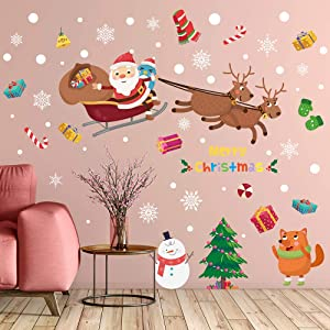 Supzone Christmas Wall Stickers Santa Claus Fox Wall Decals Removable Vinyl DIY Snowman Elk Wall Decor Christmas Party Window Playroom Bedroom Classroom Living Room