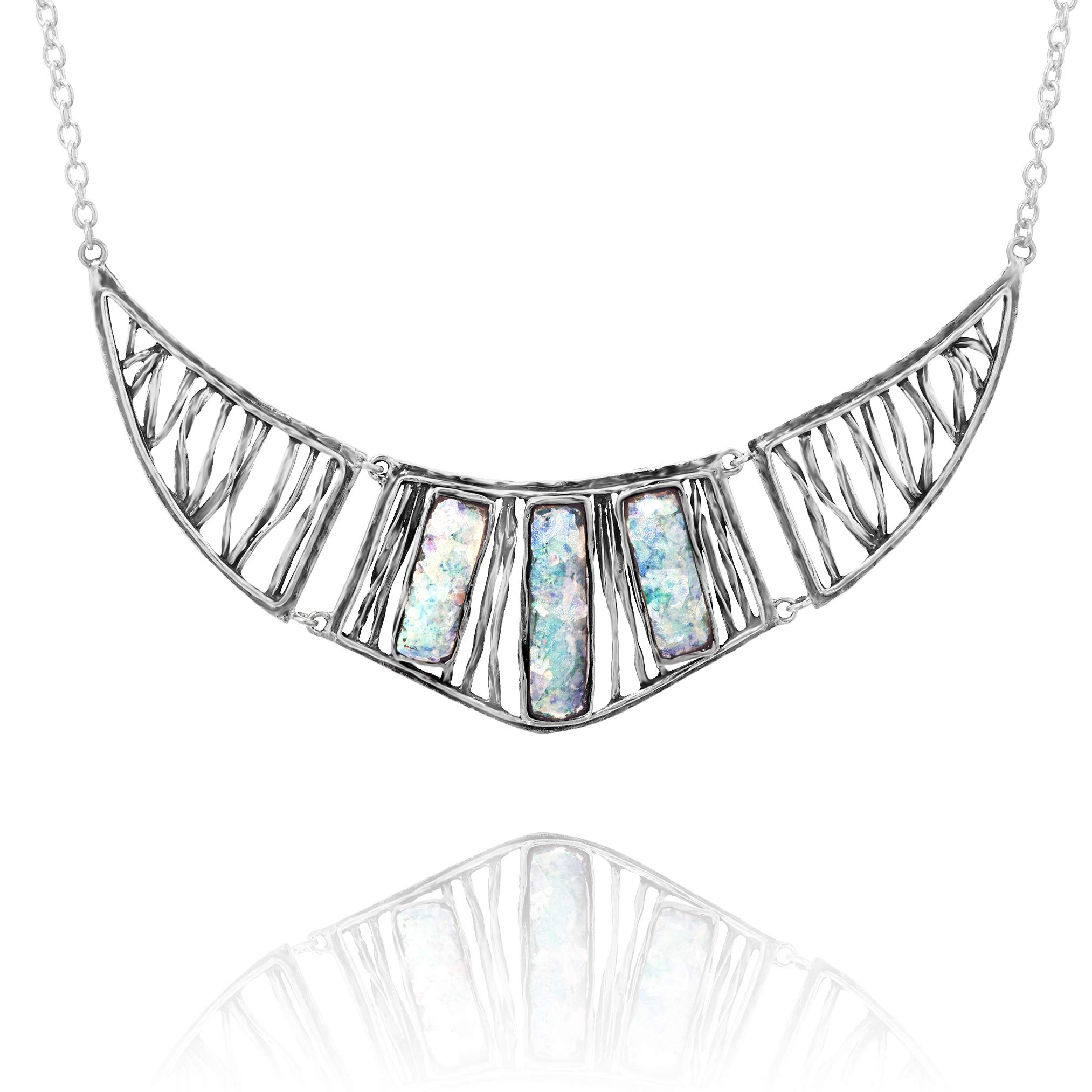 PAZ Creations 925. Sterling Silver Roman Glass Statement Necklace by PZ