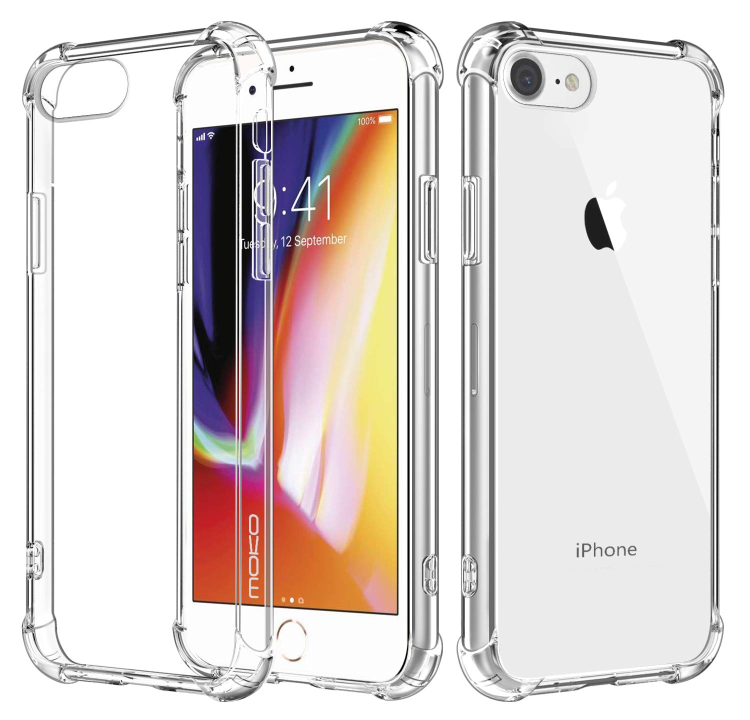 various colors 736df 3a91a MoKo Cover Compatible for iPhone 8 Case / iPhone 7 Case, Flexible TPU  Bumper Gel Case Crystal Clear Ultra Slim Shell Protective Anti-Scratch  Rigid ...