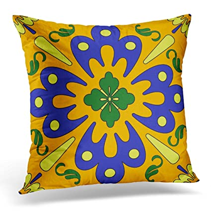 Pillowcase In Spanish Delectable Amazon Emvency Throw Pillow Cover Floral Mexican Orange Blue