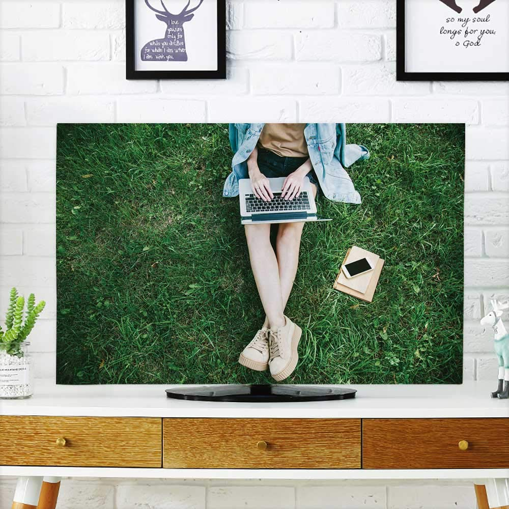 Analisahome Television Protector top Woman sitt in Park Green Grass with Laptop Notebook and Phones on Television Protector W32 x H51 INCH/TV 55''