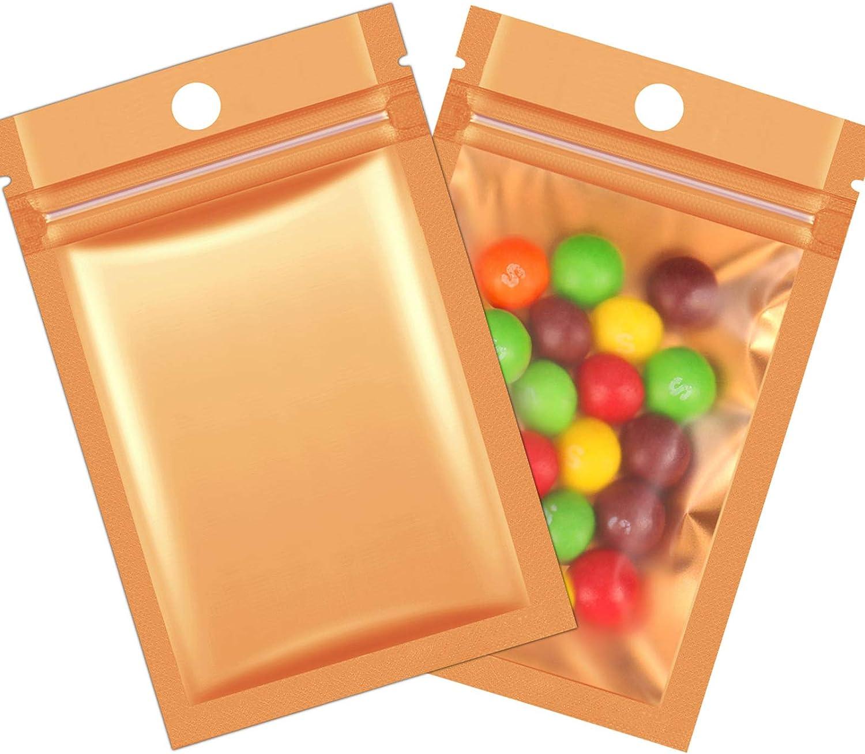 200 Pieces Mylar Zip Lock Bags Aluminum Foil Bags, Flat Metallic Mylar Foil Flat Food Storage Bags Pouch (Gold)