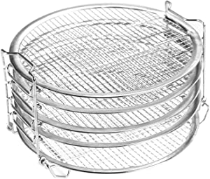 Indoula Dehydrator Rack with 5 Layers for Ninja Foodi 6.5 qt & 8 qt,Dehydrator Stand for Instant Pot Duo Crisp 8 qt,Stainless Steel Finish.