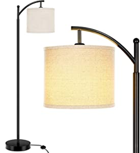 Lakumu Floor Lamp for Living Room, Modern Standing Lamp with Cream Color Fabric Lampshade for Bedroom, Office, Hotel ,Study Room with Floor Switch- E26 Medium Edison Lamp Base.